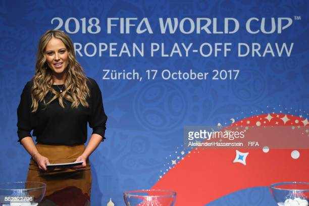 Vanessa Huppenkothen presents the Official Draw for the 2018 FIFA World Cup European PlayOff at the FIFA headquaters on October 17 2017 in Zurich...