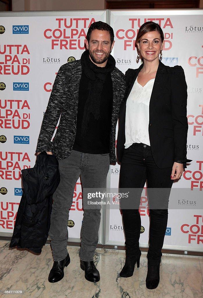 Vanessa Incontrada (R) attends 'Tutta colpa di Freud' premiere at Teatro dell'Opera on January 20, 2014 in Rome, Italy.