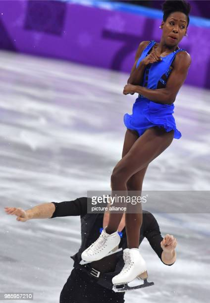 Vanessa James and Morgan Cipres from France in action during the figure skating pairs short program of the 2018 Winter Olympics in the Gangneung Ice...