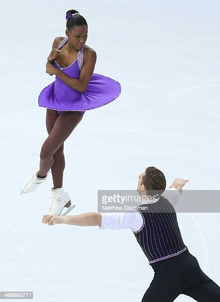Vanessa James and Morgan Cipres of France compete during the Figure Skating Pairs Short Program on day four of the Sochi 2014 Winter Olympics at...