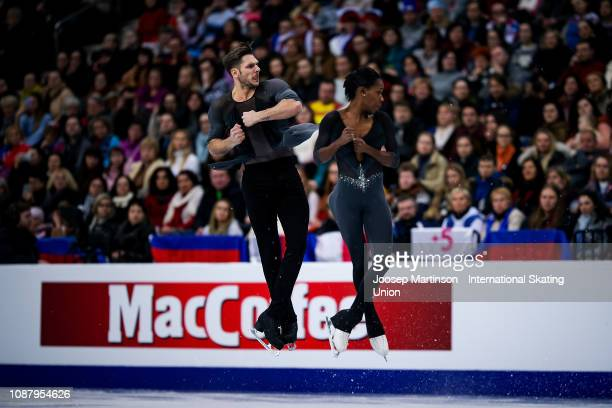 Vanessa James and Morgan Cipres of France compete in the Pairs Free Skating during day two of the ISU European Figure Skating Championships at Minsk...
