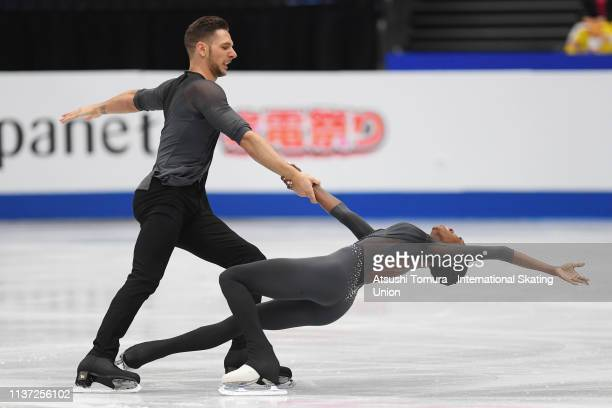 Vanessa James and Morgan Cipres of France compete in the Pairs free skating during day 2 of the ISU World Figure Skating Championships 2019 at...