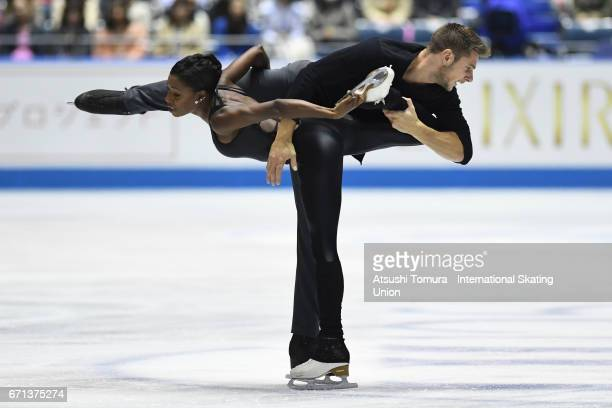 Vanessa James and Morgan Cipres of France compete in the Pairs free skating during the 3rd day of the ISU World Team Trophy 2017on April 22 2017 in...