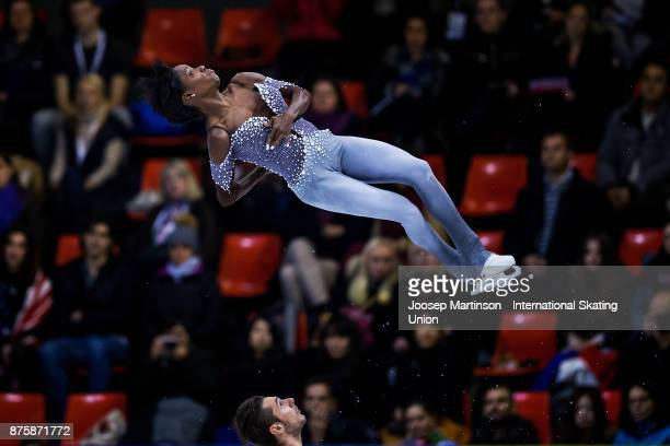 Vanessa James and Morgan Cipres of France compete in the Pairs Free Skating during day two of the ISU Grand Prix of Figure Skating at Polesud Ice...