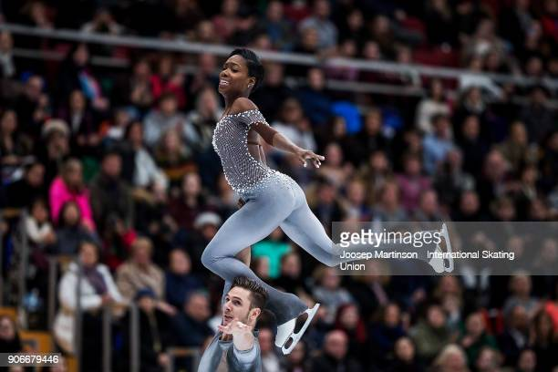 Vanessa James and Morgan Cipres of France compete in the Pairs Free Skating during day two of the European Figure Skating Championships at Megasport...