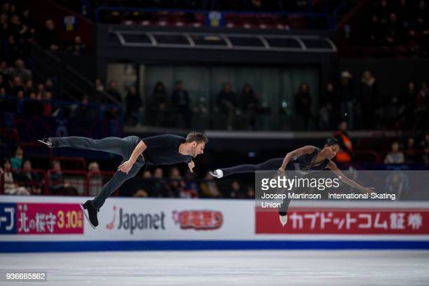 Vanessa James and Morgan Cipres of France compete in the Pairs Free Skating during day two of the World Figure Skating Championships at Mediolanum...
