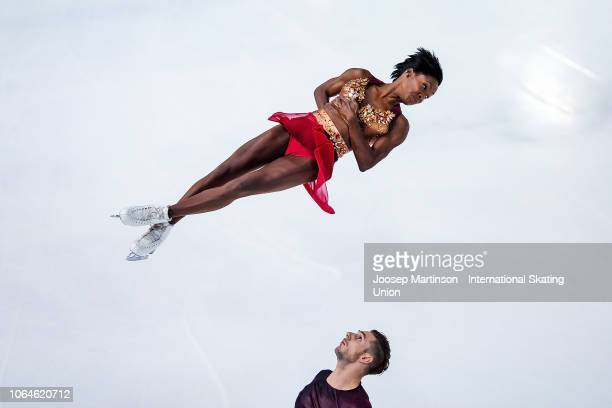 Vanessa James and Morgan Cipres of France compete in the Pairs Short Program during day 1 of the ISU Grand Prix of Figure Skating Internationaux de...