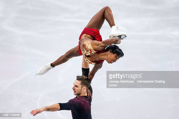 Vanessa James and Morgan Cipres of France compete in the Pairs Short Program during day one of the ISU European Figure Skating Championships at Minsk...