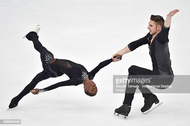 Vanessa James and Morgan Cipres of France compete in the pairs short program during the day one of the NHK Trophy ISU Grand Prix of Figure Skating...