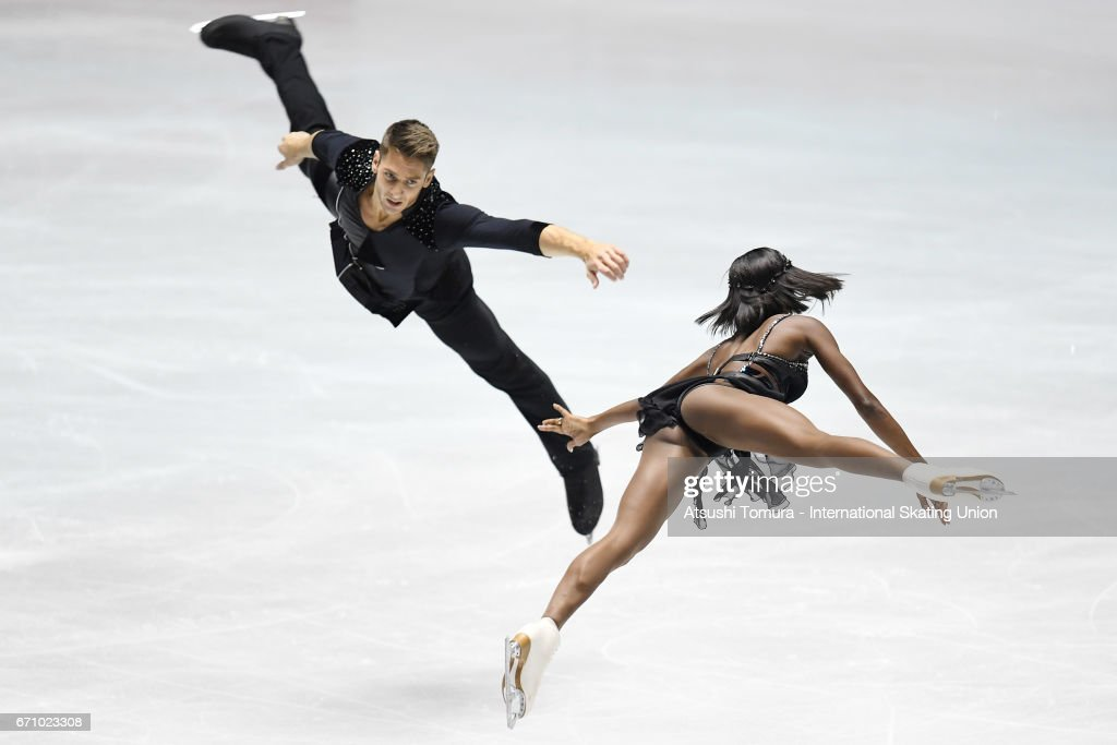 Vanessa James and Morgan Cipres of France compete in the Pairs short program during the 2nd day of the ISU World Team Trophy 2017 on April 21, 2017 in Tokyo, Japan.