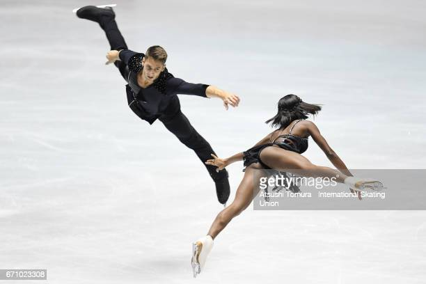 Vanessa James and Morgan Cipres of France compete in the Pairs short program during the 2nd day of the ISU World Team Trophy 2017 on April 21 2017 in...