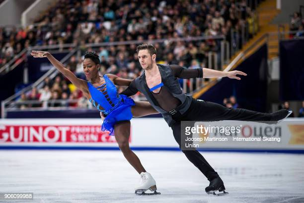 Vanessa James and Morgan Cipres of France compete in the Pairs Short Program during day one of the European Figure Skating Championships at Megasport...