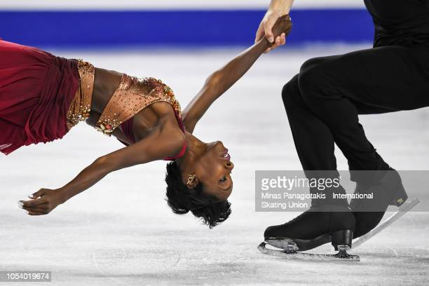Vanessa James and Morgan Cipres of France compete on day 1 during the ISU Grand Prix of Figure Skating Skate Canada International at Place Bell on...