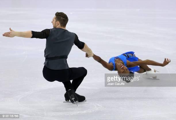 Vanessa James and Morgan Cipres of France during the Figure Skating Pairs Skating Short Program on day five of the PyeongChang 2018 Winter Olympic...
