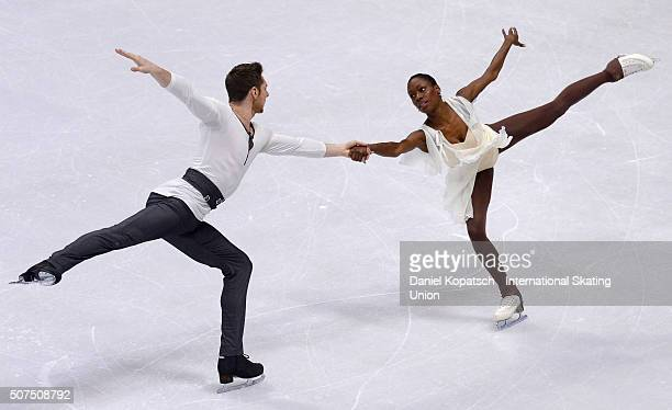 Vanessa James and Morgan Cipres of France perform during Pairs Free Skating on day four of the ISU European Figure Skating Champinships 2016 on...