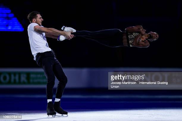Vanessa James and Morgan Cipres of France perform in the Gala Exhibition during day five of the ISU European Figure Skating Championships at Minsk...