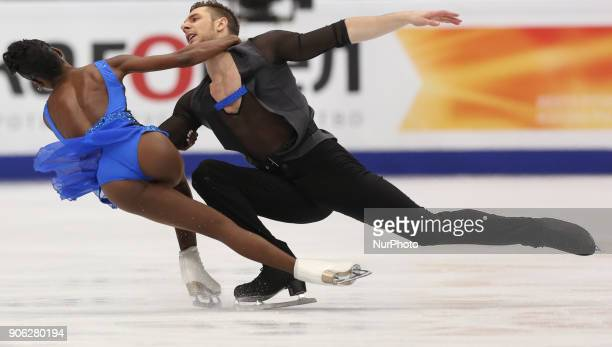 Vanessa James and Morgan Cipres of France perform their short program in the pair competition at the 2018 ISU European Figure Skating Championships...