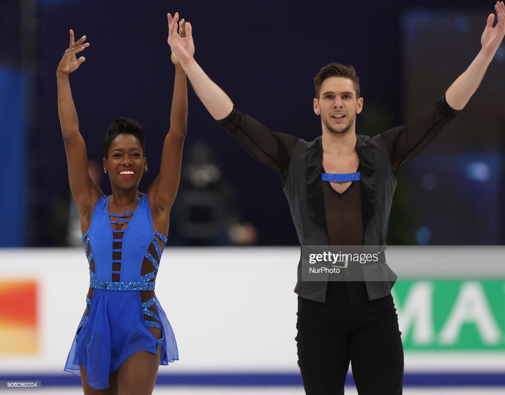 Vanessa James and Morgan Cipres of France perform their short program in the pair competition at the 2018 ISU European Figure Skating Championships, at Megasport Arena in Moscow.
