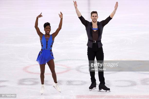 Vanessa James and Morgan Cipres of France react after their routine during the Pair Skating Short Program on day five of the PyeongChang 2018 Winter...