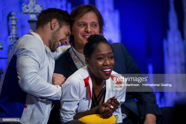 Vanessa James and Morgan Cipres of France react at the kiss and cry in the Pairs Free Skating during day two of the World Figure Skating...