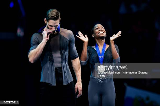 Vanessa James and Morgan Cipres of France react in the Pairs medal ceremony during day two of the ISU European Figure Skating Championships at Minsk...
