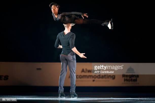 Vanessa James and Morgan Cipres of France skate their exhibition program at the ISU Grand Prix of Figure Skating's Skate Canada International at...