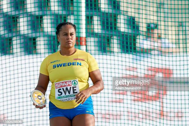 Vanessa Kamga from Sweden competes in womens discus throw Final while European Athletics Team Championships Super League Bydgoszcz 2019 - Day One at...