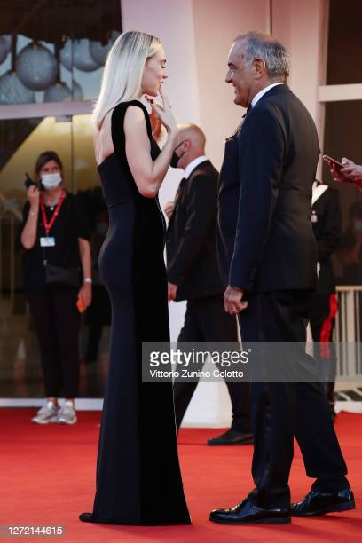 Vanessa Kirby and Director of 77 Mostra Internazionale d'Arte Cinematografica Alberto Barbera walk the red carpet ahead of closing ceremony at the...