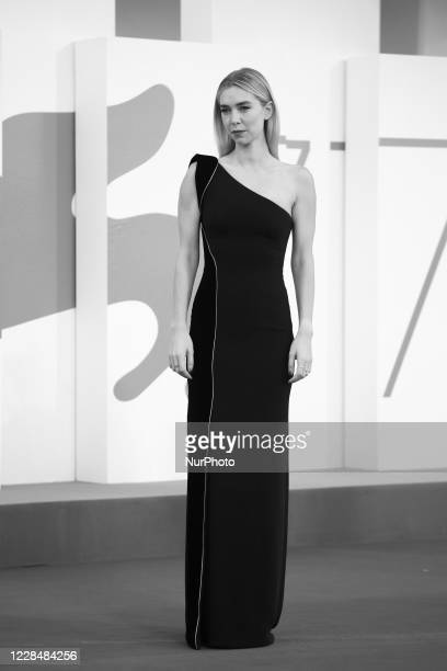 Image was converted to black and white) Vanessa Kirby walks the red carpet ahead of closing ceremony at the 77th Venice Film Festival on September...