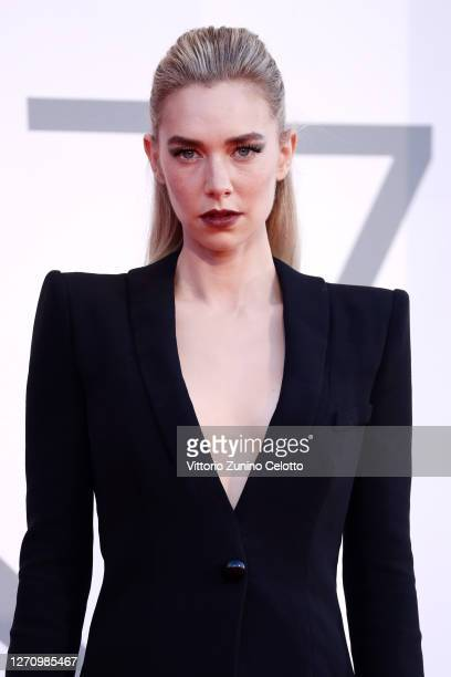 """Vanessa Kirby walks the red carpet ahead of the movie """"The World To Come"""" at the 77th Venice Film Festival on September 06, 2020 in Venice, Italy."""