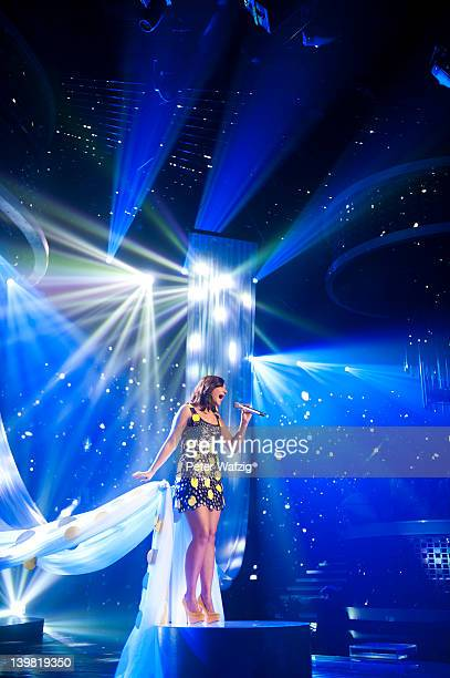 Vanessa Krasniqi performs during the 'Deutschland Sucht Den Superstar' Rehearsal on February 25 2012 in Cologne Germany