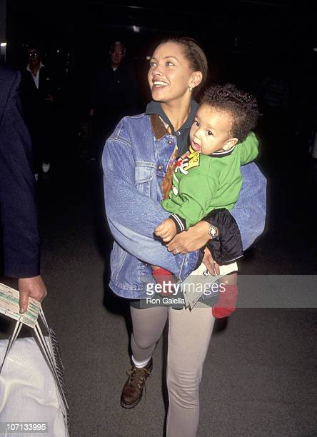 Vanessa L Williams and son Devin Hervey during Vanessa L Williams and Devin Hervey Sighting at Los Angeles International Airport January 7 1994 at...