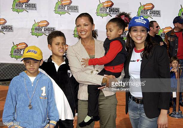 Vanessa L Williams family during Nickelodeon's 16th Annual Kids' Choice Awards 2003 Arrivals at Barker Hanger in Santa Monica California United States