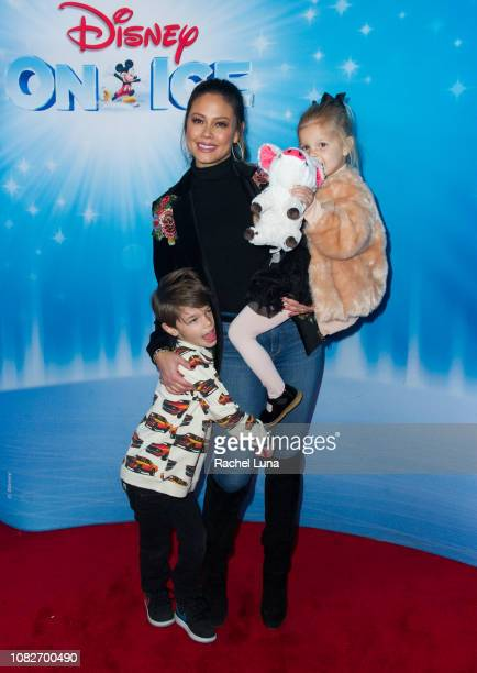 Vanessa Lachey with son Camden and daughter Brooklyn attend Disney On Ice Presents 'Dare To Dream' at Staples Center on December 14 2018 in Los...