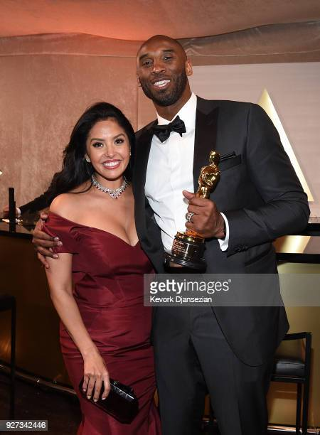 Vanessa Laine Bryant and filmmaker Kobe Bryant, winner of the Best Animated Short Film award for 'Dear Basketball,' attend the 90th Annual Academy...