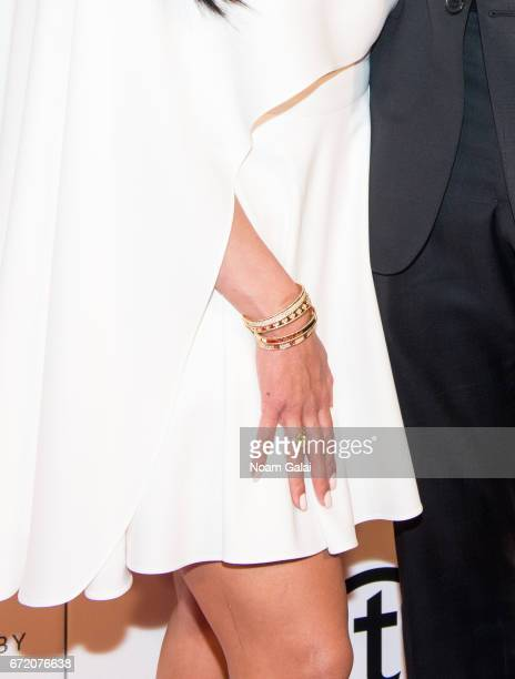 Vanessa Laine Bryant bracelet and ring detail attends Tribeca Talks Storytellers Kobe Bryant with Glen Keane during 2017 Tribeca Film Festival at...
