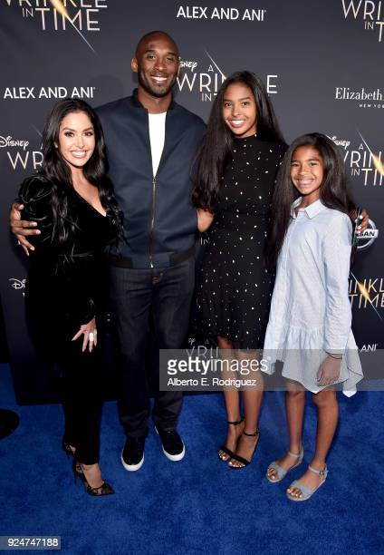 Vanessa Laine Bryant, former NBA player Kobe Bryant, Natalia Diamante Bryant, and Gianna Maria-Onore Bryant arrive at the world premiere of Disney's...