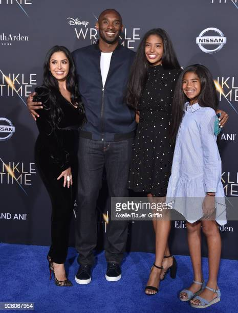 Vanessa Laine Bryant, former NBA player Kobe Bryant, Natalia Diamante Bryant and Gianna Maria-Onore Bryant arrive at the premiere of Disney's 'A...