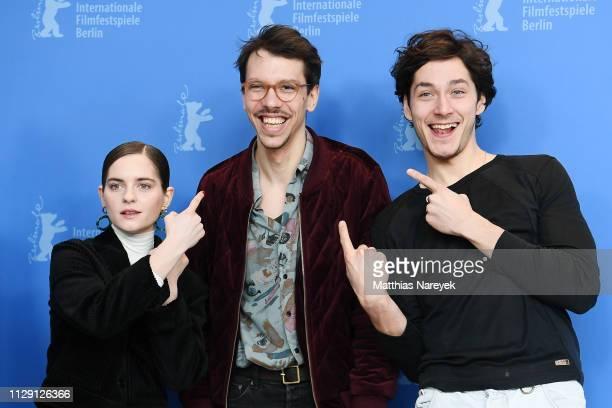 Vanessa Loibl Xaver Boehm and Noah Saavedra pose at the O Beautiful Night photocall during the 69th Berlinale International Film Festival Berlin at...