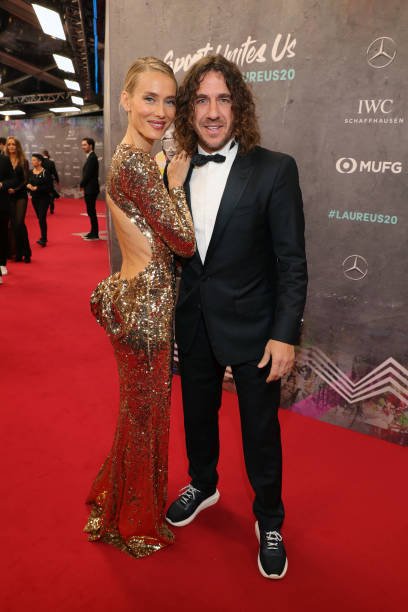 Vanessa Lorenzo and Laureus Academy Member Carles Puyol attend the 2020 Laureus World Sports Awards at Verti Music Hall on February 17 2020 in Berlin...