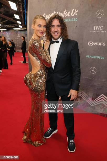 Vanessa Lorenzo and Laureus Academy Member Carles Puyol attend the 2020 Laureus World Sports Awards at Verti Music Hall on February 17, 2020 in...