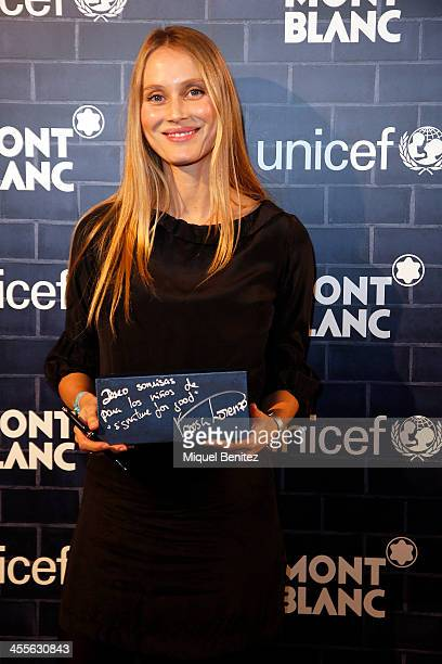 Vanessa Lorenzo attends the 'Montblanc and UNICEF Charity' in Montblanc store on December 12 2013 in Barcelona Spain