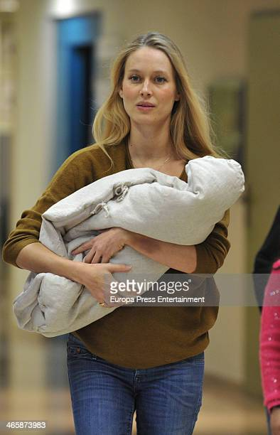 Vanessa Lorenzo presents her newborn Manuela Puyol on January 30 2014 in Barcelona Spain