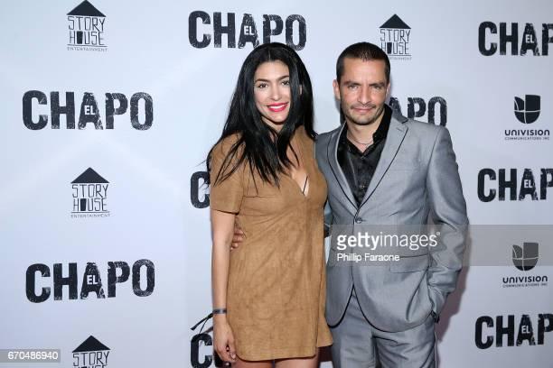 Vanessa Lyon and Juan Carlos Olivas attend the premiere of Univison's El Chapo at Landmark Theatre on April 19 2017 in Los Angeles California