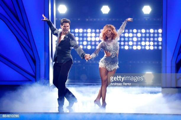 Vanessa Mai and Christian Polanc perform on stage during the 1st show of the tenth season of the television competition 'Let's Dance' on March 17...