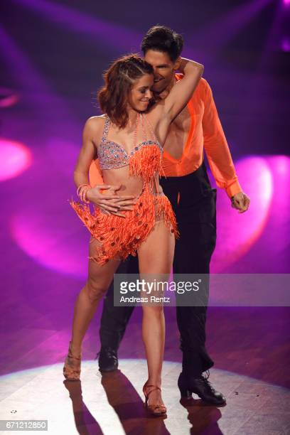 Vanessa Mai and Christian Polanc perform on stage during the 5th show of the tenth season of the television competition 'Let's Dance' on April 21...