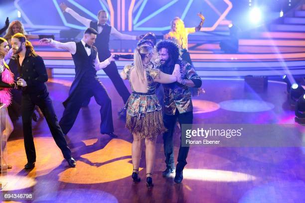 Vanessa Mai Gil Ofarim and Angelina Kirsch during the final show of the tenth season of the television competition 'Let's Dance' on June 9 2017 in...