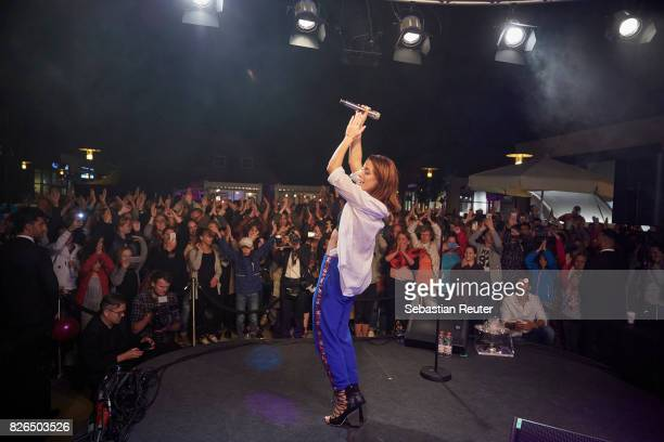 Vanessa Mai performs at the late night shopping at Designer Outlet Soltau on August 4 2017 in Soltau Germany
