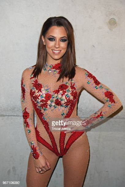 Vanessa Mai poses behind the scenes after she performed live on stage during her concert on May 10 2018 in Berlin Germany Vanessa Mai invited young...