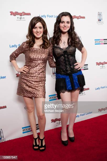 Vanessa Marano and Laura Marano attend the American Music Awards VIP After Party on November 20 2011 in Los Angeles California